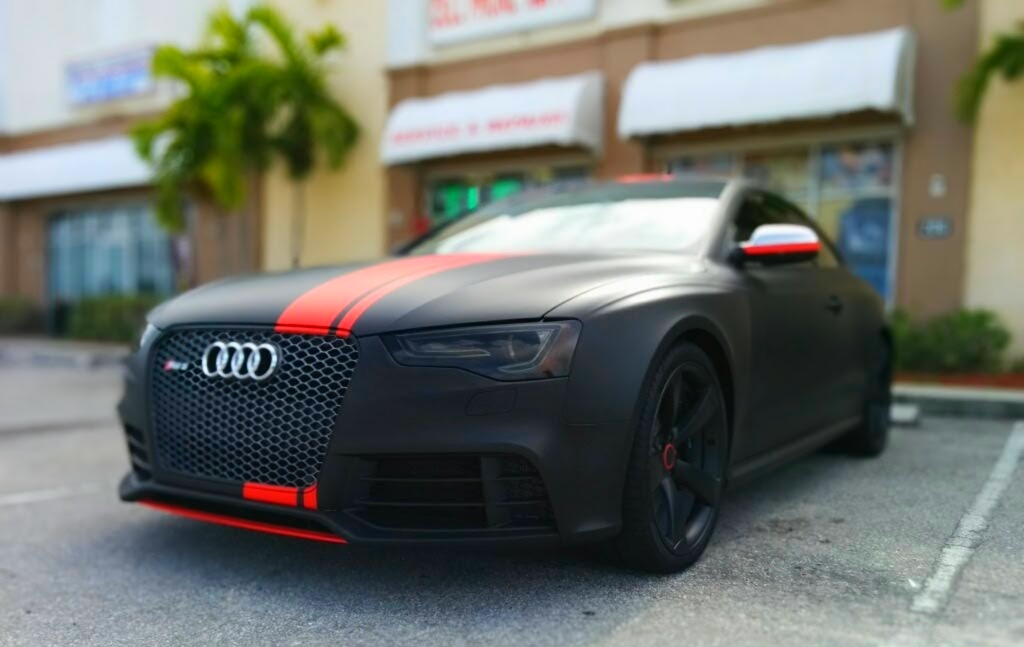 Audi Rs 5 Wrapped In 3m Matte Black With Matte Red Stripes
